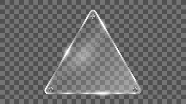 Quadro de vidro do triângulo, bandeira de vidro refletindo.