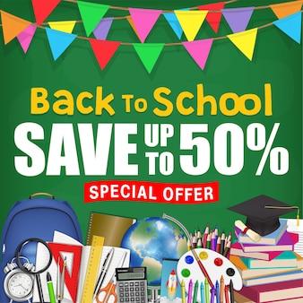 Quadro de volta ao cartaz de promoção de venda de escola