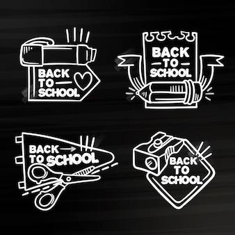 Quadro de volta ao tema de crachás de escola