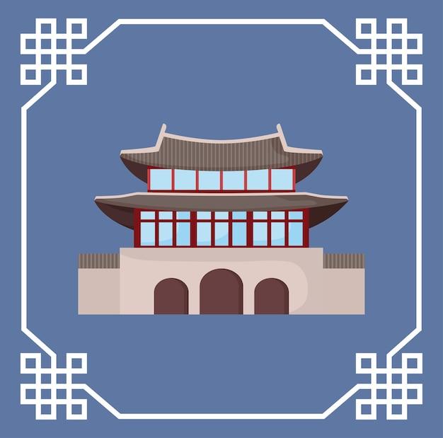 Quadro decorativo com o edifício icônico tradicional de coreia do sul