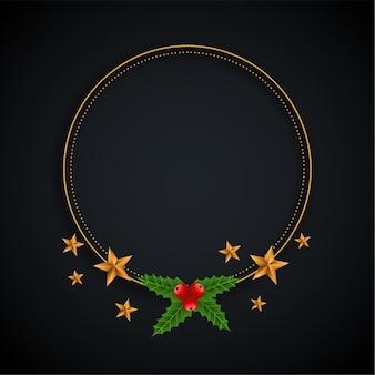Quadro decorativo de natal com estrelas e folhas de fundo