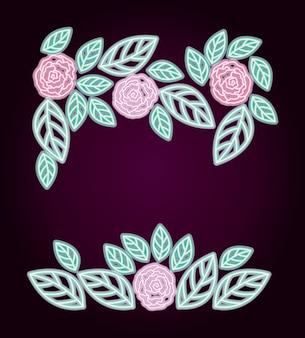 Quadro decorativo de rosas florais de néon