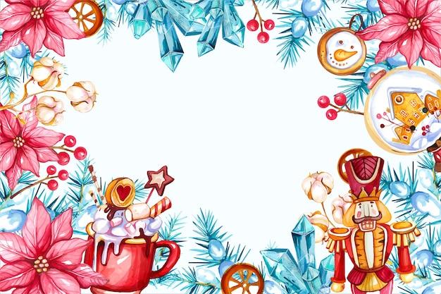 Quadro decorativo em aquarela de árvore de natal com poinsétia e quebra-nozes