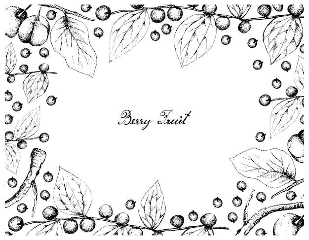 Quadro desenhado a mão de chacal jujuba e acerola cerejas