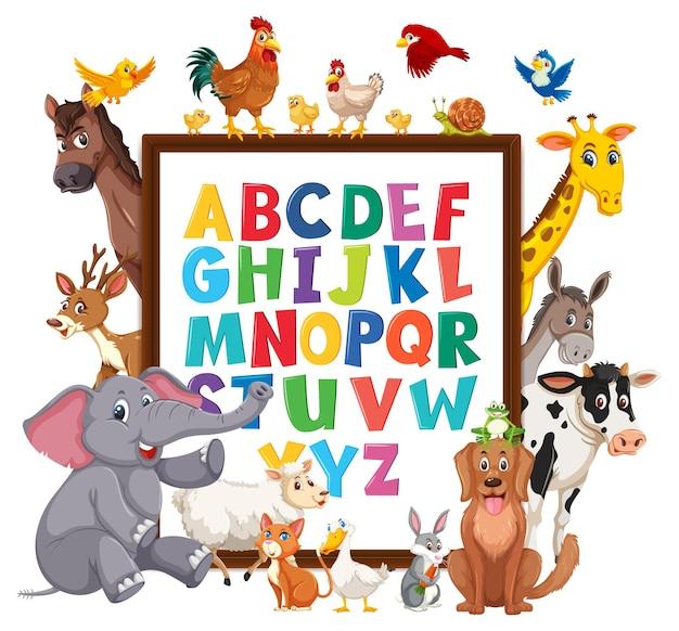 Quadro do alfabeto az com animais selvagens