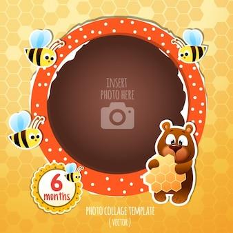 Quadro do aniversário com um urso e abelhas