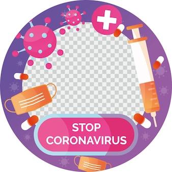 Quadro do facebook do coronavírus gradiente