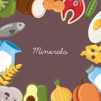Quadro do menu de ingredientes da dieta de minerais