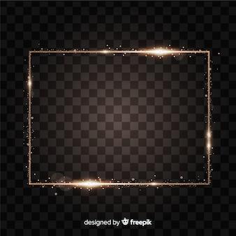 Quadro dourado realista de retângulo