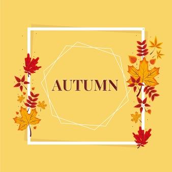 Quadro e folhas de outono