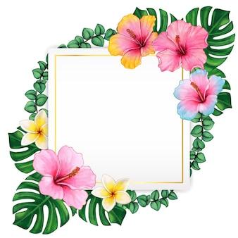 Quadro elegante de flores de hibisco em aquarela e folhas tropicais