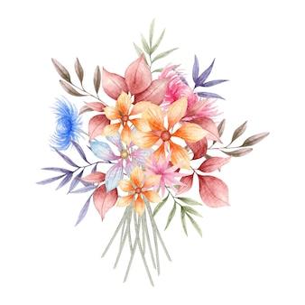 Quadro elegante de folhas e flores em aquarela de primavera