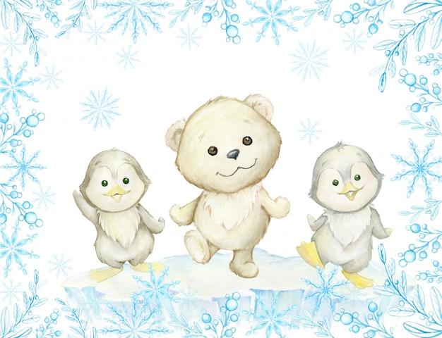 Quadro em aquarela. animais polares fofos, urso polar branco e pinguins, dançando.