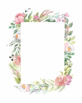 Quadro em aquarela com buquês de flores rosa, folhas verdes.