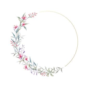 Quadro em aquarela de flores silvestres e folhas