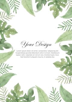 Quadro em aquarela de folhas tropicais
