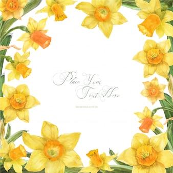 Quadro em aquarela de primavera com flores de narciso