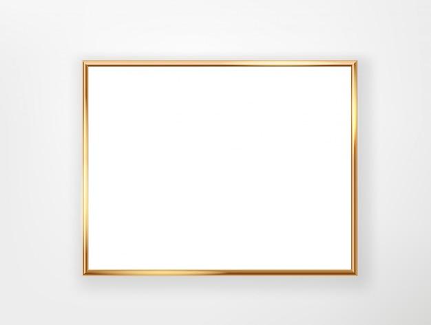 Quadro em branco com borda de ouro. modelo para um texto