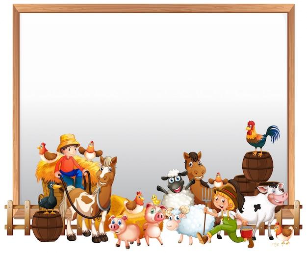 Quadro em branco com conjunto de fazenda de animais