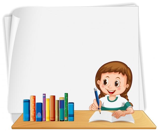 Quadro em branco de escola de menina