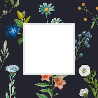 Quadro em branco em padrão floral de verão