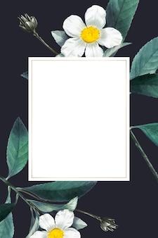 Quadro em branco no padrão botânico de verão