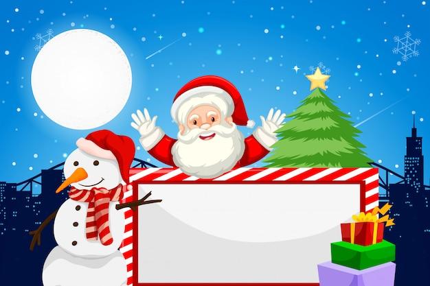 Quadro em branco temático de papai noel e feriado