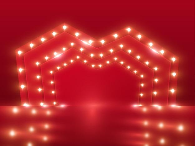 Quadro em camadas de coração vermelho letreiro ou plano de fundo do palco em vista frontal.