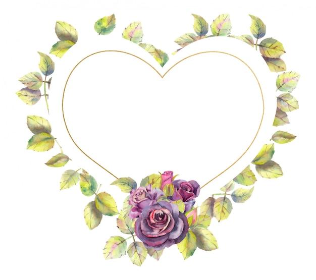 Quadro em forma de coração com rosa e folhas. efeito aquarela