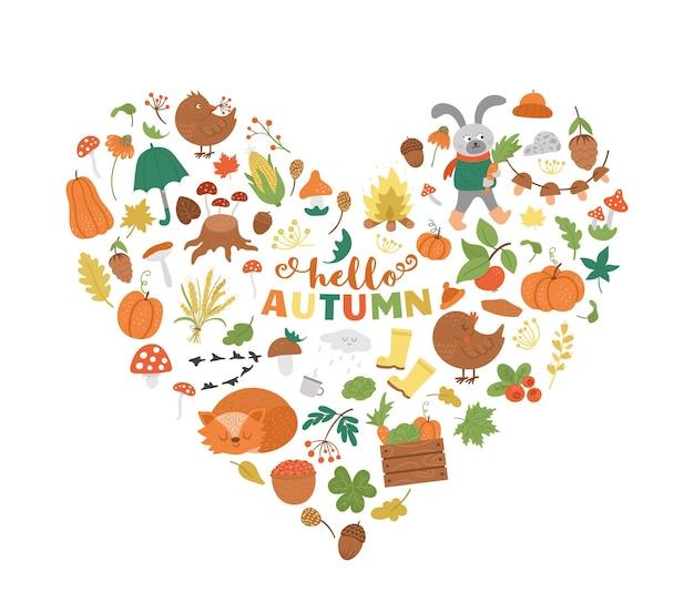 Quadro em forma de coração outono de vetor com animais, plantas, folhas, sino, abóboras. design de outono