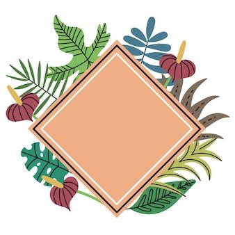 Quadro em forma de diamante planta de selva tropical quadro de losango de pêssego folhas exóticas