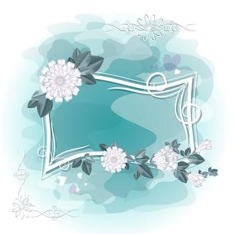 Quadro encaracolado para uma foto ou texto com flores brancas.