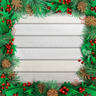 Quadro festivo de natal na luz de fundo de madeira. bagas de azevinho, ramos de pinheiro e cones. ilustração altamente detalhada.