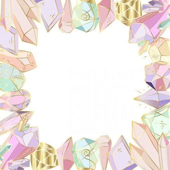 Quadro figurado, feito de cristais, pedras preciosas