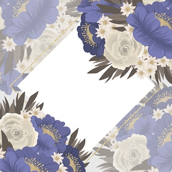 Quadro flor azul flores