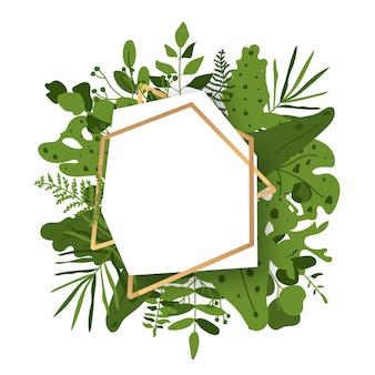 Quadro floral abstrato poligonal ouro com folhas verdes tropicais exóticas, ramo, bagas.