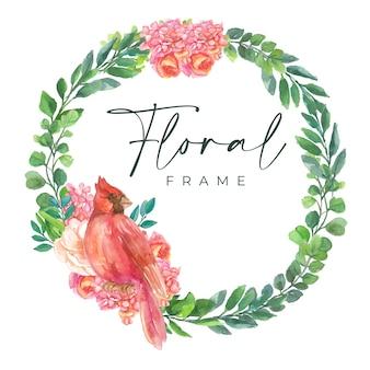 Quadro floral aquarela com borda de linha