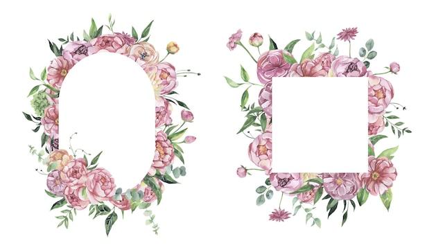Quadro floral aquarela com flores