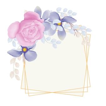 Quadro floral aquarela com rosa rosa