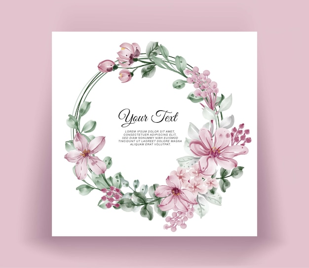 Quadro floral aquarela grinalda de flores