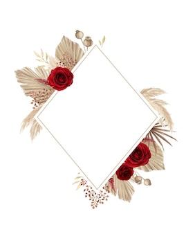 Quadro floral boêmio com rosa vermelha e grama dos pampas