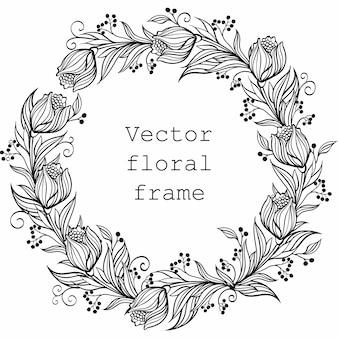 Quadro floral. borda redonda com flores e folhas.