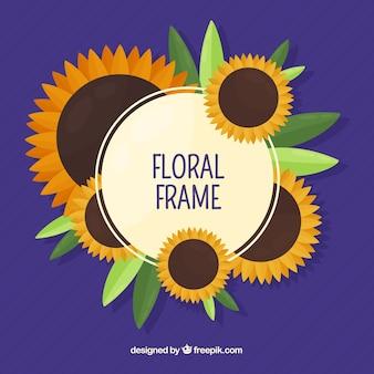 Quadro floral circular com design plano
