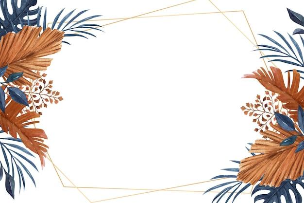 Quadro floral clássico e elegante com folhas de cor azul marinho e enferrujada