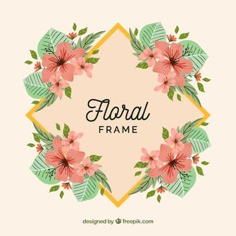 Quadro floral colorido com design plano
