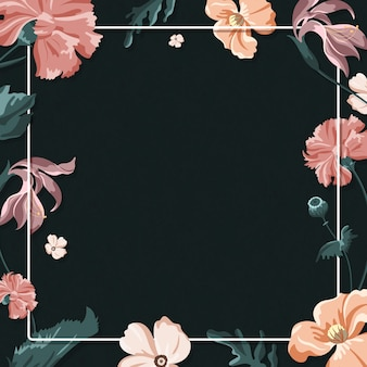 Quadro floral colorido em um fundo preto