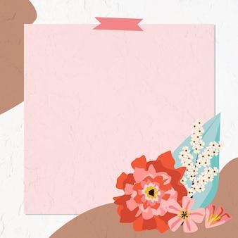 Quadro floral com fita washi