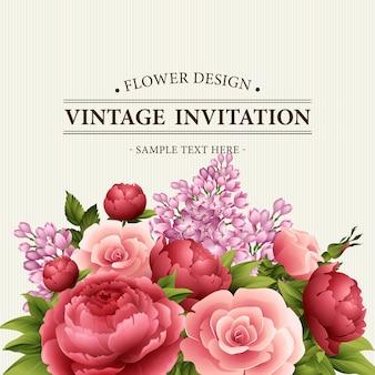 Quadro floral com flores. bouquet floral com peônia, rosa e lilás.