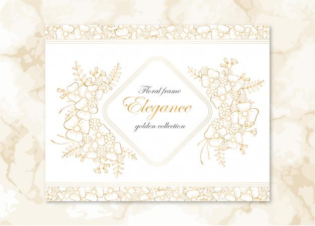 Quadro floral com flores douradas e fundo de mármore