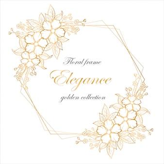 Quadro floral com flores douradas